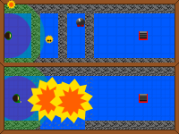 two top-down views of a level, the first divided by walls and the second showing the walls destroyed by cartoon explosions