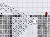 a side view of a platformer level editor, drawn in pen and pencil on graph paper